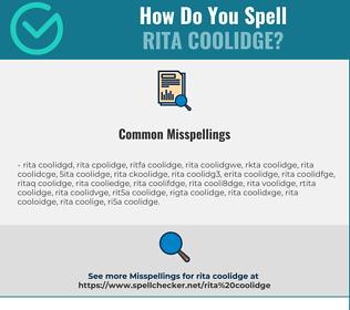 Correct spelling for Rita Coolidge