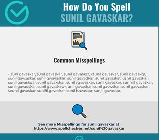 Correct spelling for Sunil Gavaskar