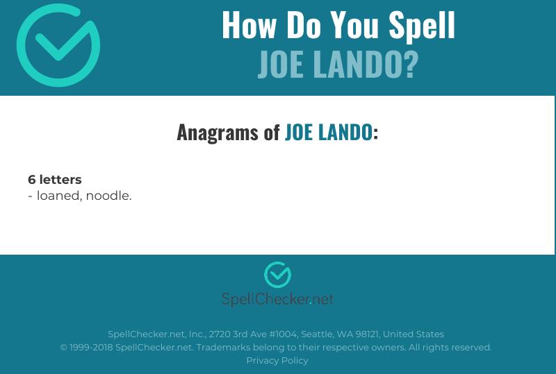 Correct spelling for Joe Lando [Infographic]   Spellchecker net