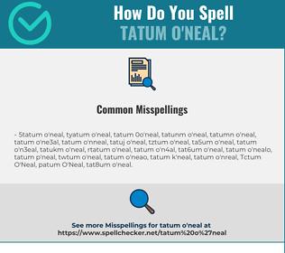 Correct spelling for Tatum O'Neal
