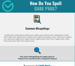 Correct spelling for Gabe Paul