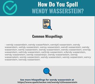 Correct spelling for Wendy Wasserstein