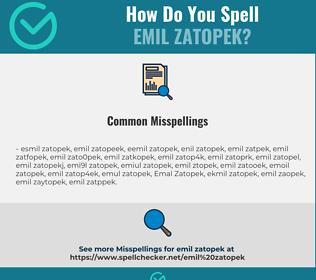 Correct spelling for Emil Zatopek