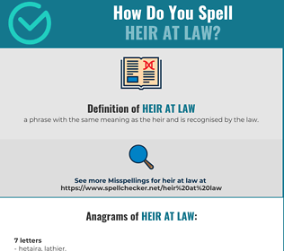 Correct spelling for heir at law
