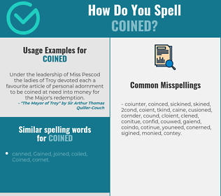 Correct spelling for Coined
