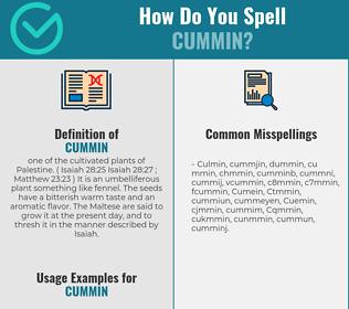 Correct spelling for Cummin