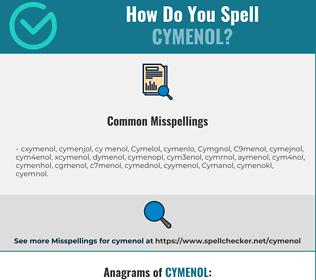 Correct spelling for Cymenol
