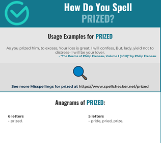 Correct spelling for Prized