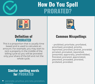 Correct spelling for Prorated