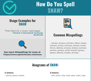 Correct spelling for Snaw