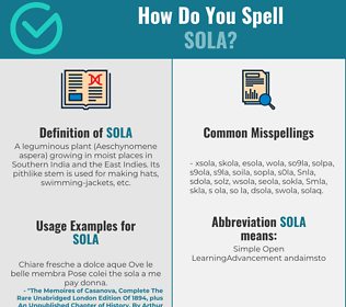 Correct spelling for Sola