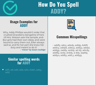 Correct spelling for Addy