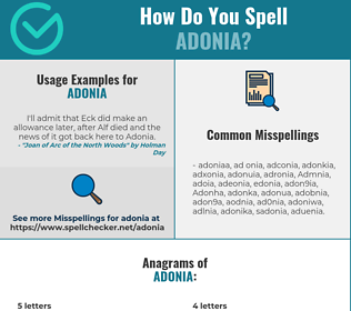 Correct spelling for Adonia