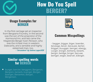 Correct spelling for Berger