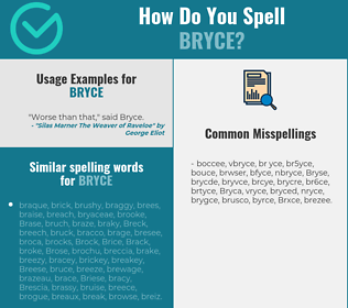 Correct spelling for Bryce