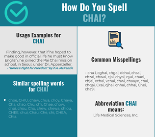 Correct spelling for Chai