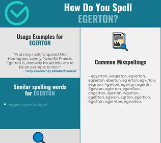 Correct spelling for Egerton