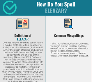 Correct spelling for Eleazar