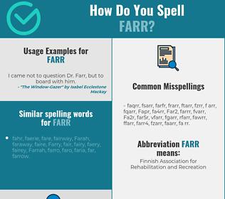 Correct spelling for Farr