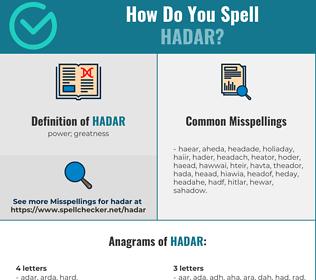 Correct spelling for Hadar