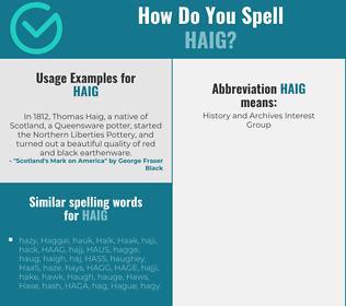 Correct spelling for Haig