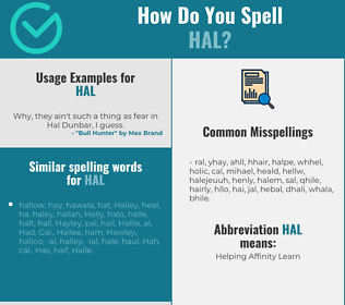 Correct spelling for Hal