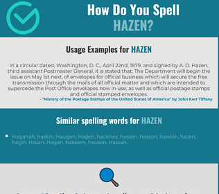 Correct spelling for Hazen