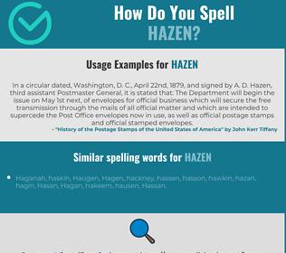 Correct spelling for Hazen