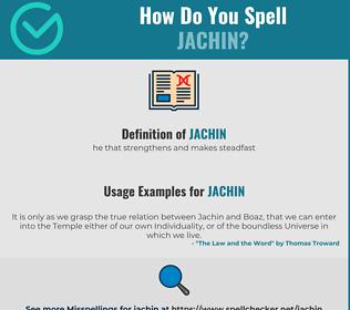 Correct spelling for Jachin