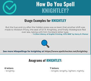 Correct spelling for Knightley