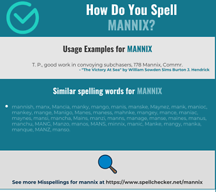 Correct spelling for Mannix