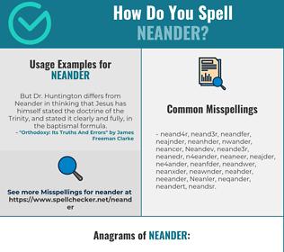 Correct spelling for Neander