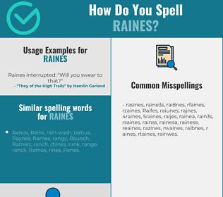 Correct spelling for Raines
