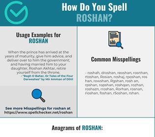 Correct spelling for Roshan