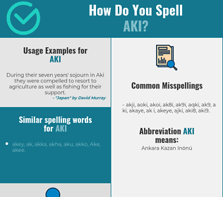 Correct spelling for Aki