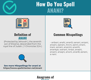 Correct spelling for Anani