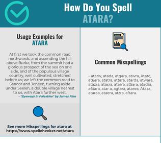 Correct spelling for Atara