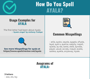 Correct spelling for Ayala