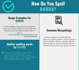 Correct spelling for Barra