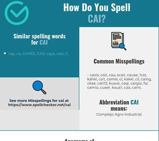 Correct spelling for Cai