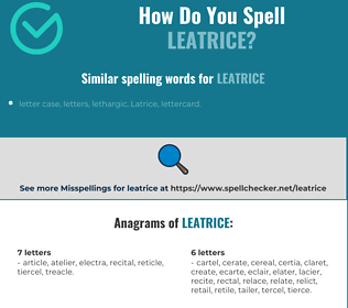 Correct spelling for Leatrice