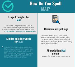 Correct spelling for Mai