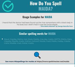 Correct spelling for Maida