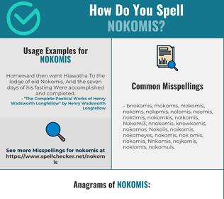 Correct spelling for Nokomis