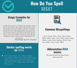 Correct spelling for Risa