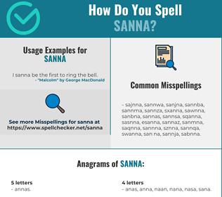 Correct spelling for Sanna