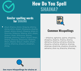 Correct spelling for Shaina