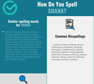 Correct spelling for Shana