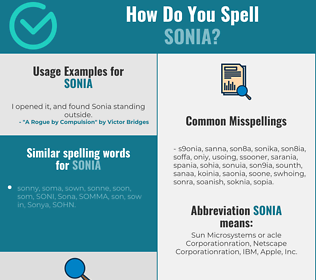 Correct spelling for Sonia