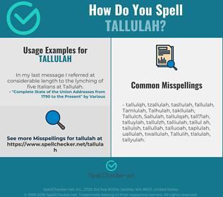 Correct spelling for Tallulah